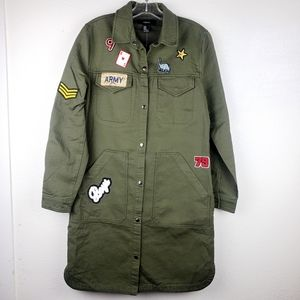FOREVER 21 Army Olive Utility Paris Patch Jacket